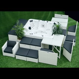 Poly-Rattan-Luxus-Whirlpool-Lounger King-SPA-Set-WLS-230-Outdoor mit Stauraum